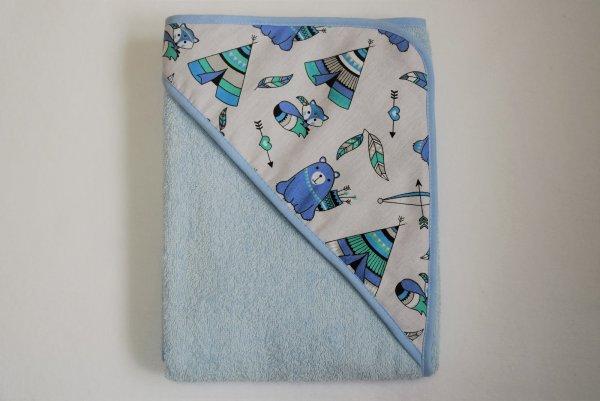 Dětská osuška s kapucí termofrote - modrá 100x100 cm