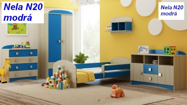 Postel Nela N20 160/80 cm + matrace modrá