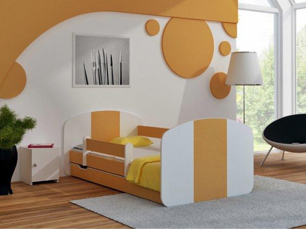 Postel Milošek 160x80 cm se šuplíkem, roštem a matrací - orange