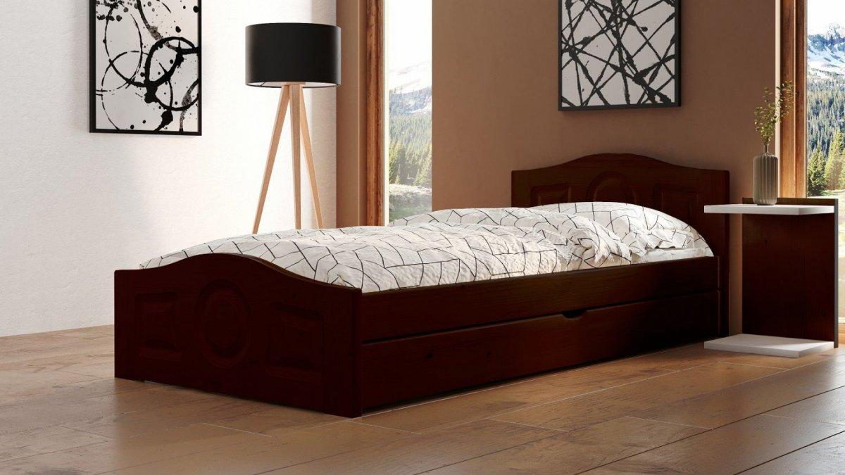Postel Comfort 90/200 cm - ořech + šuplík - masiv smrk 3,5 cm