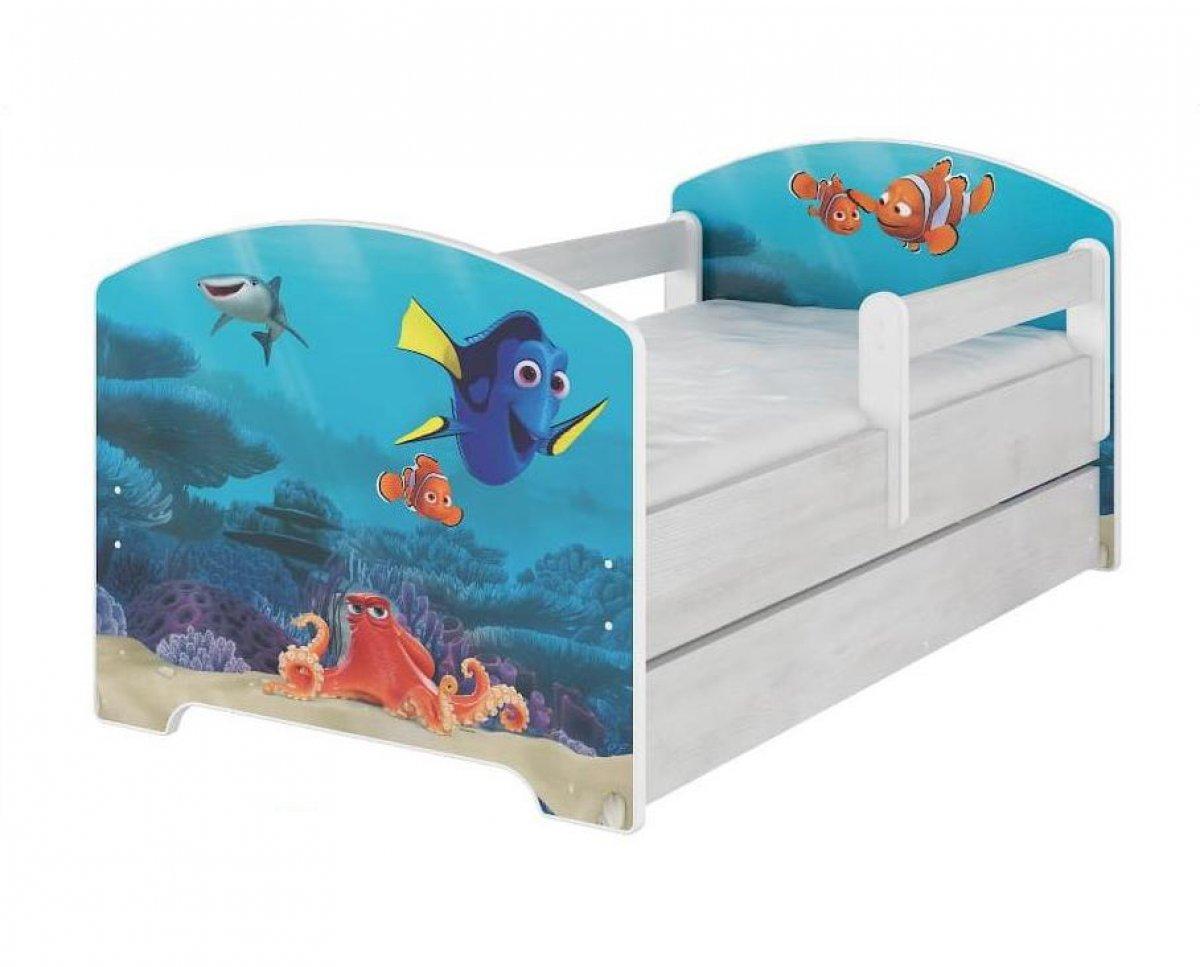 Postel 160/80 cm Dory a Nemo + šuplík
