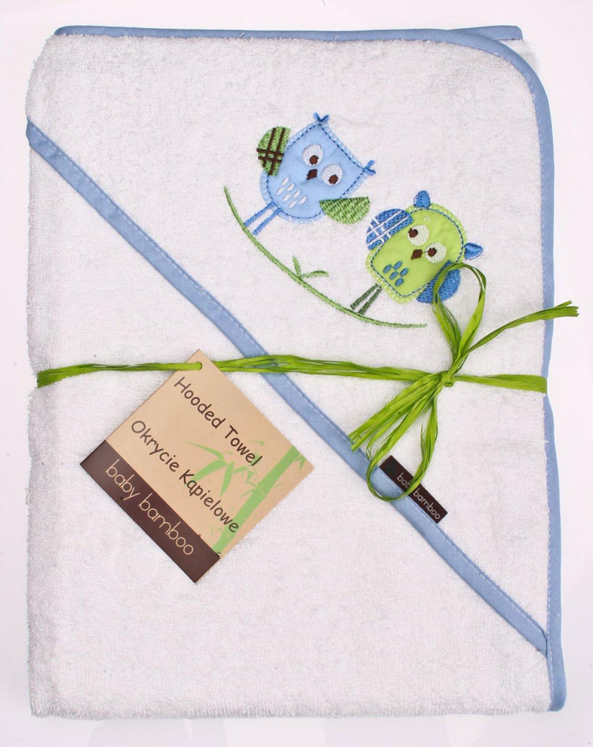 Bambusová osuška s kapucí 100x100 cm sovy bílá/modrý lem