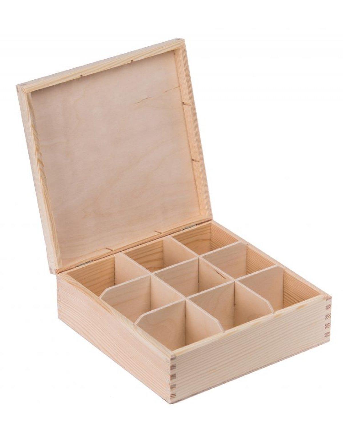 Krabička dřevěná na čaj 22,5x22,5x8,2 cm
