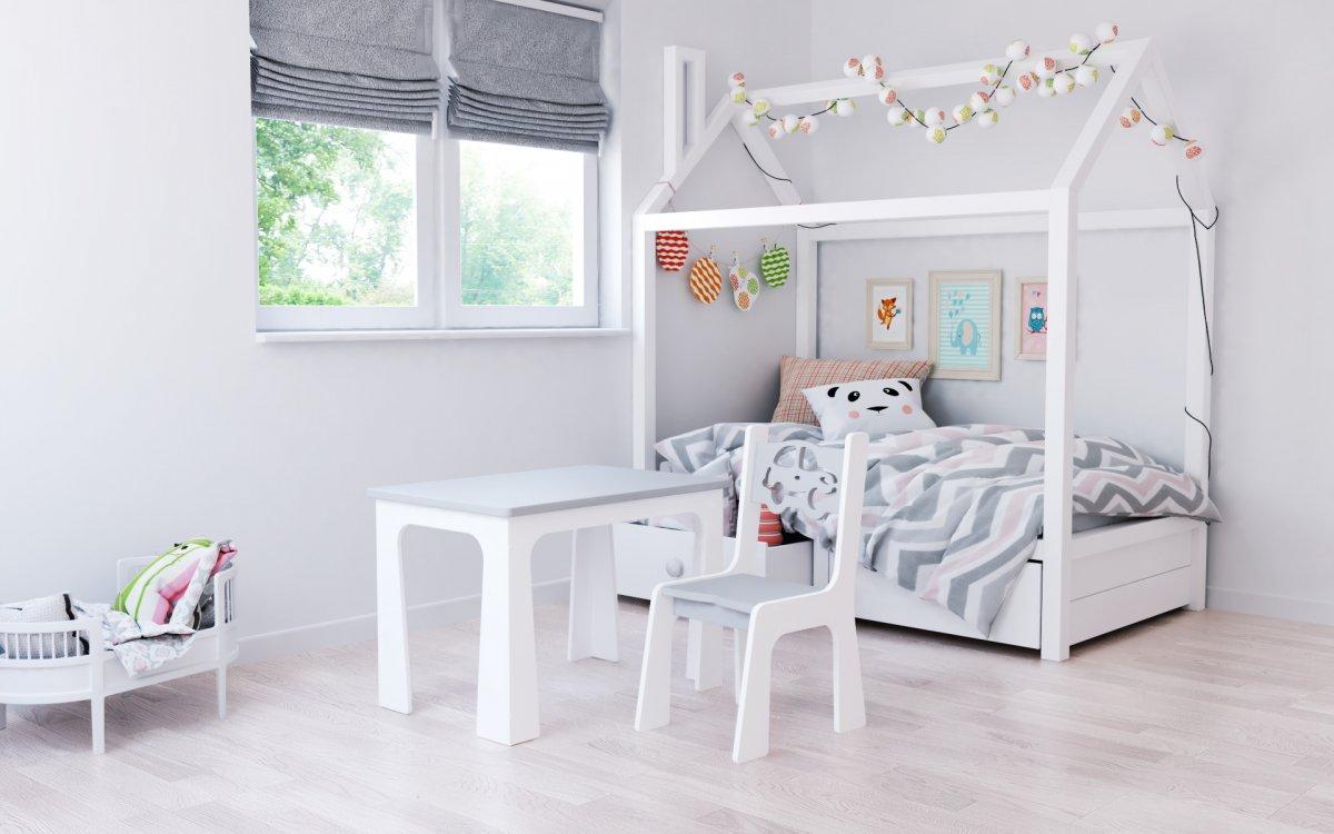 Stůl a židle opěrka - auto šedo bílá