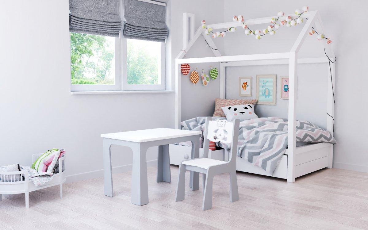 Stůl a židle auto bílo-šedý