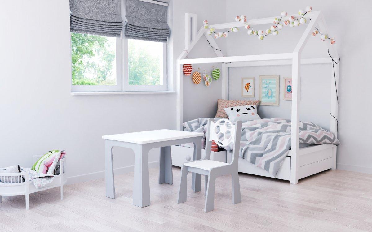 Stůl a židle opěrka - míč bílo-šedá