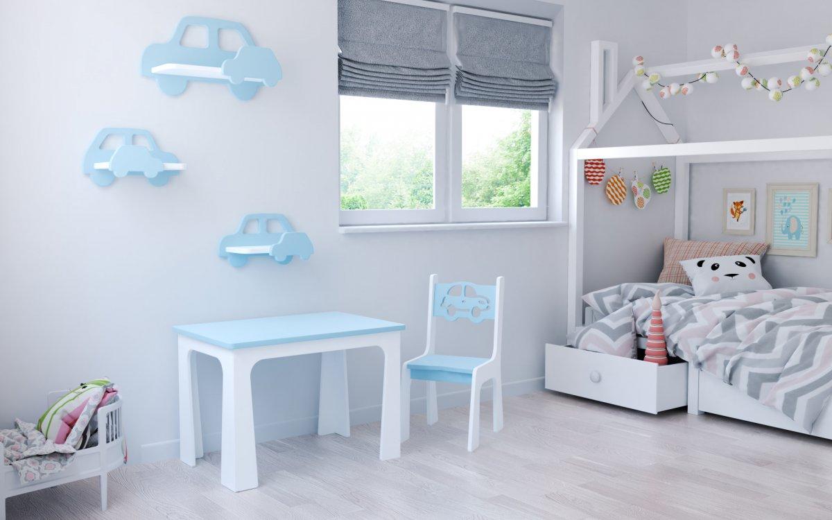 Stůl a židle auto modro-bílá