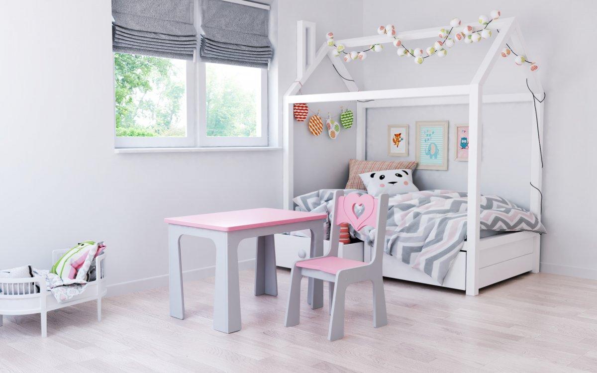 Stůl a židle opěrka srdce růžovo-šedá