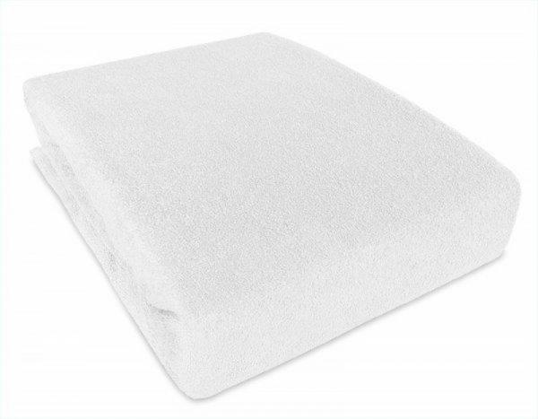Prostěradlo froté s gumkou a PVC bílé 120/60 cm