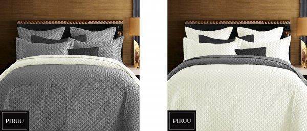 Přehoz na postel 220/200 cm šedá-smetana