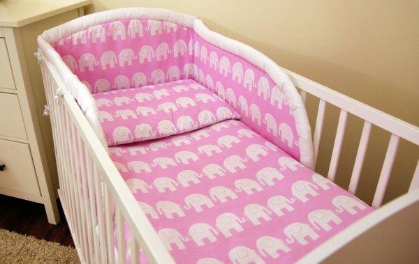 Luxusní sada do postýlky 3-dílná rúžový slon