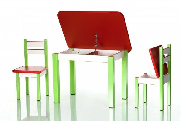 Stůl a dvě židličky ST1 červeno/zelená