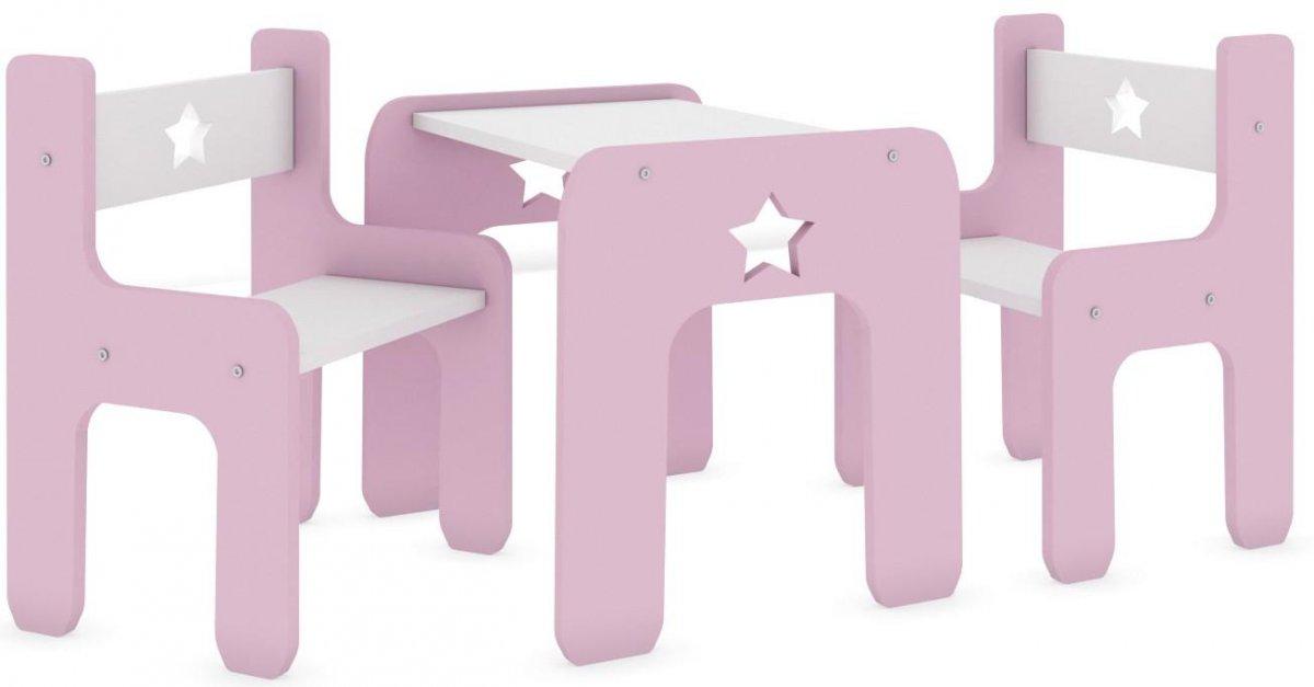 Stůl a dvě židle hvězda růžová