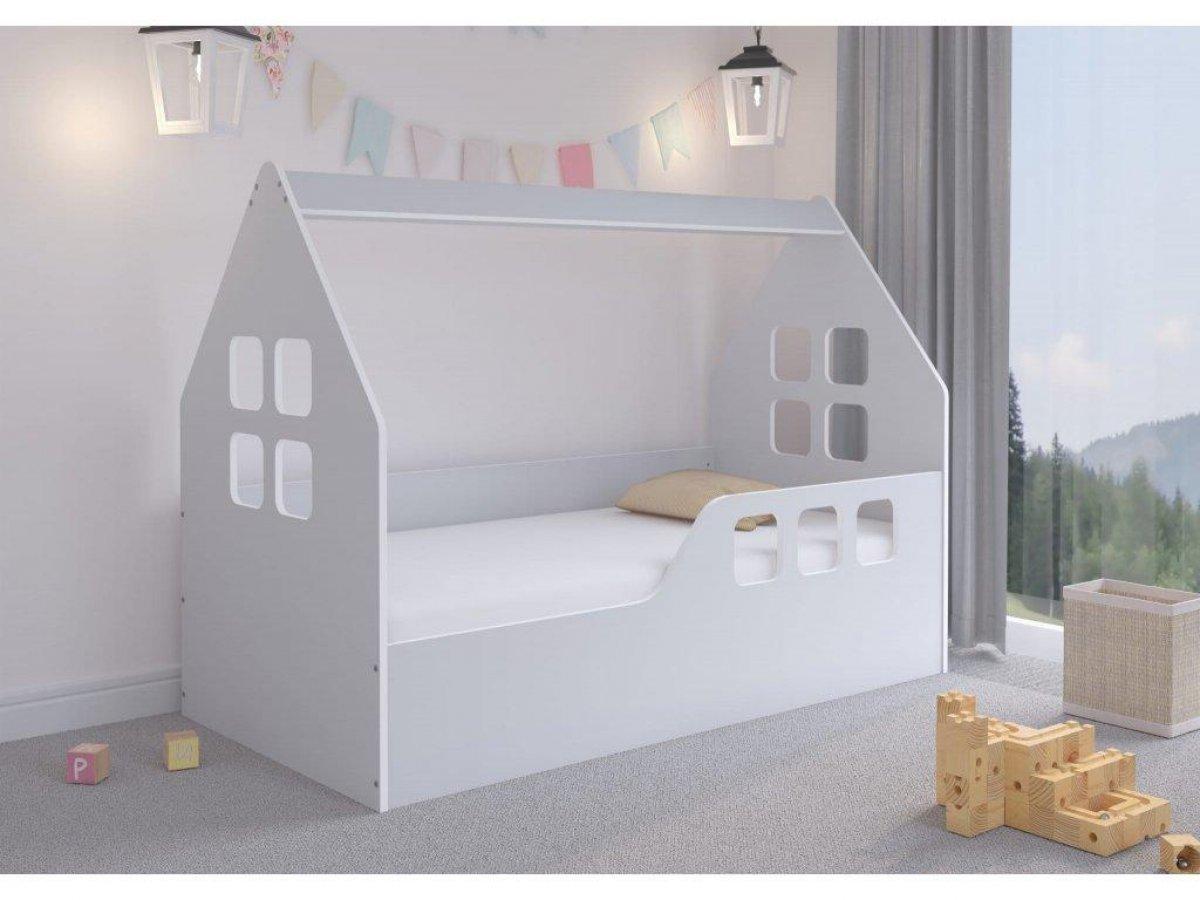 Dětská postel ve tvaru domečku - 160 x 80 cm šedá