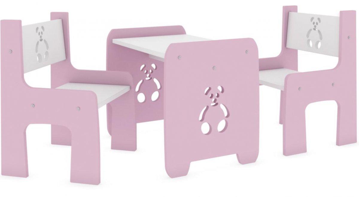 Stůl a dvě židle - méďa růžový