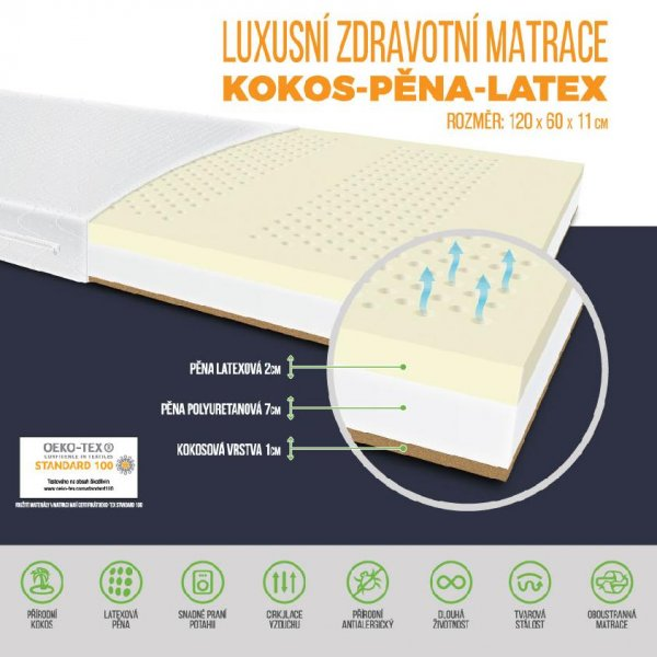 Zdravotní matrace Meditex 120 x 60 x 11 cm latex / kokos