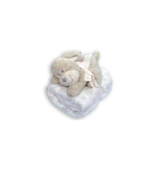 Dětská plyšová deka + hračka - psík