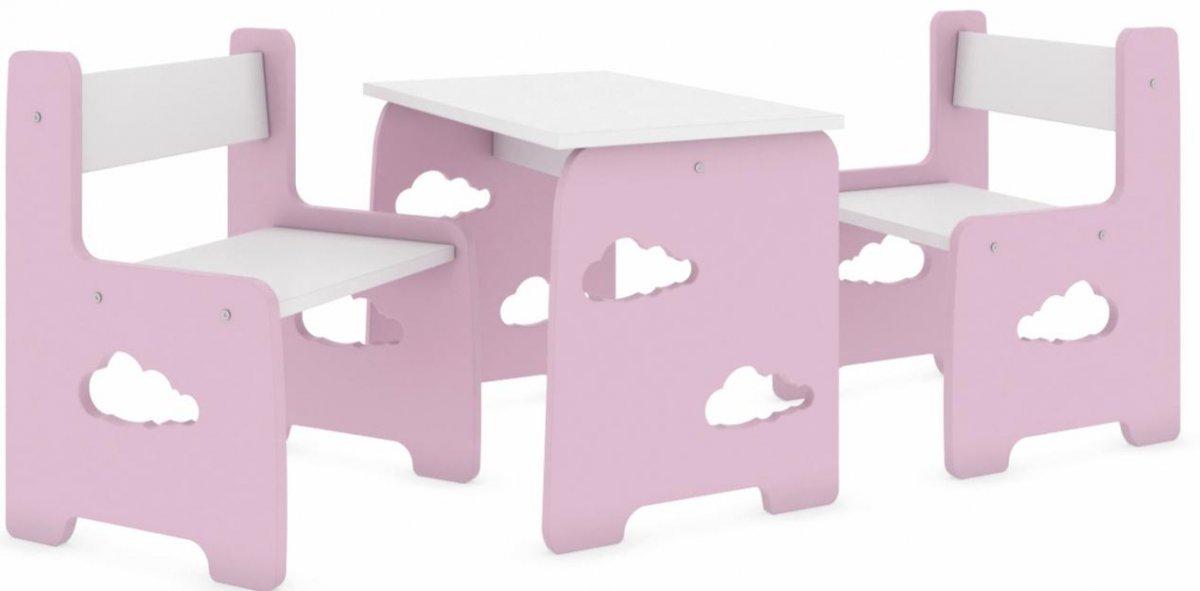 Stůl a dvě židle mráček růžový