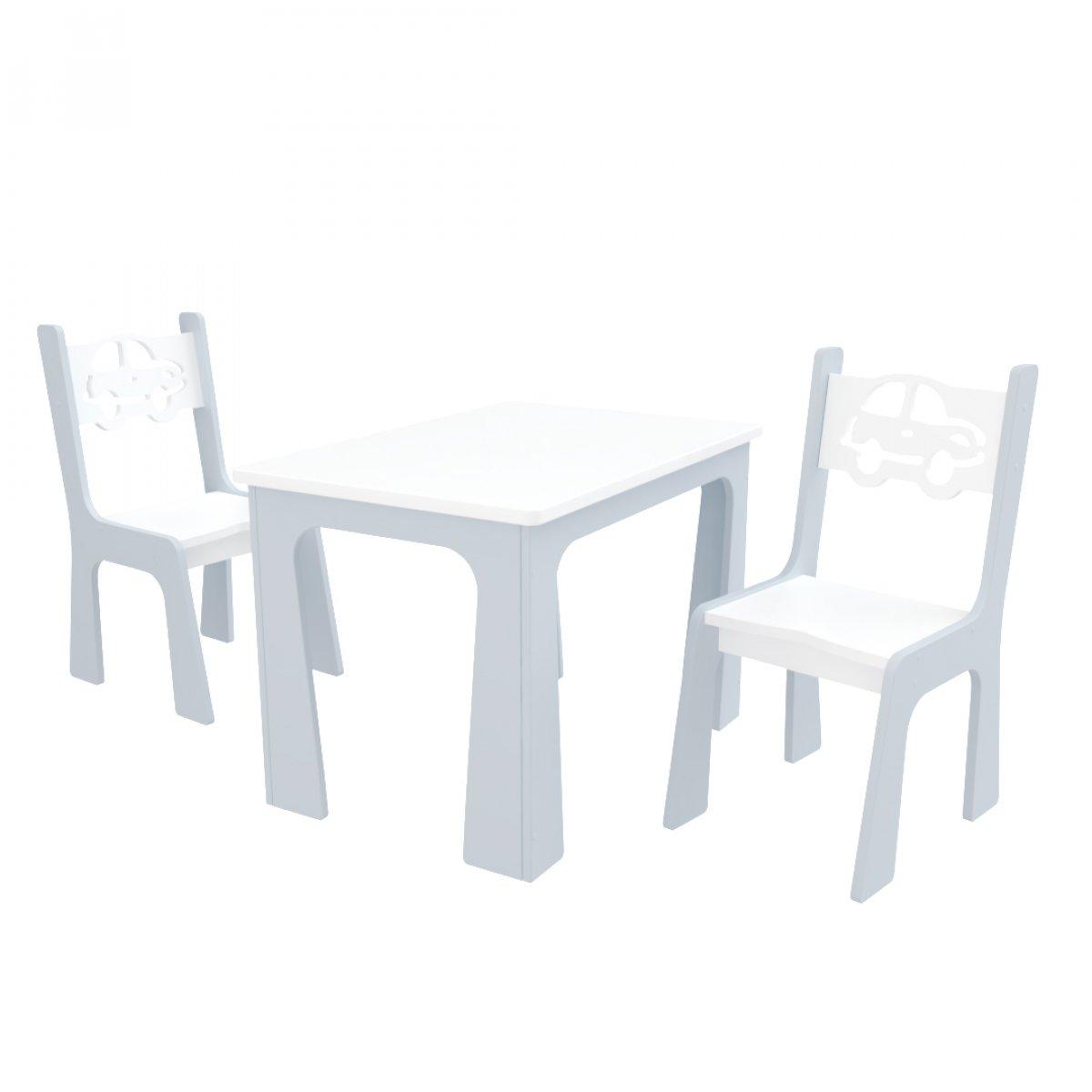 Stůl + dvě židle auta bílo-šedá