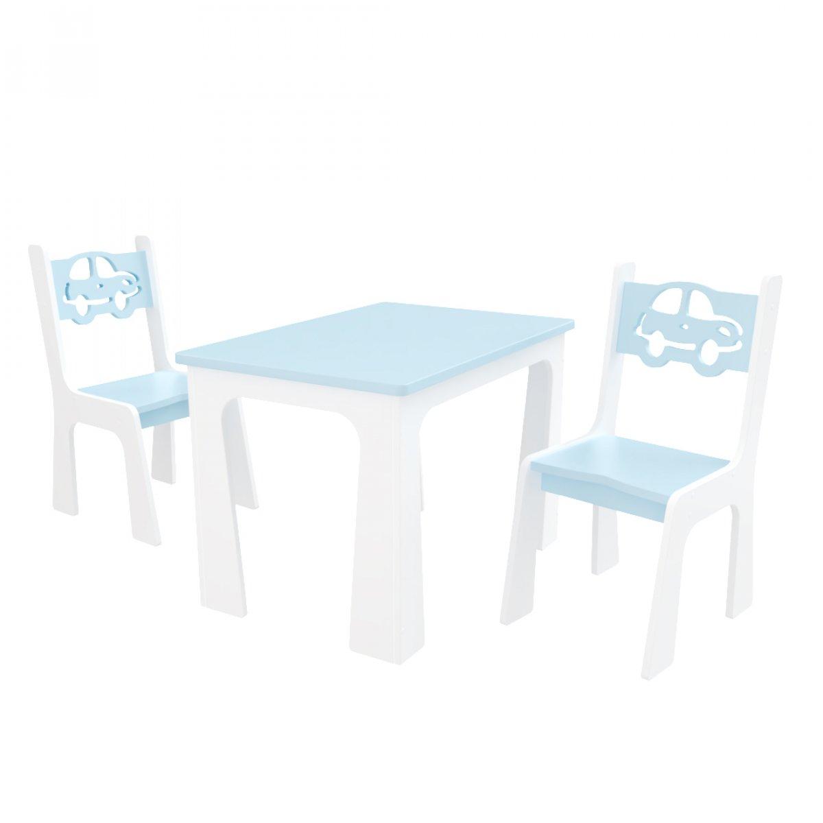 Stůl + dvě židle - auta modro-bílá