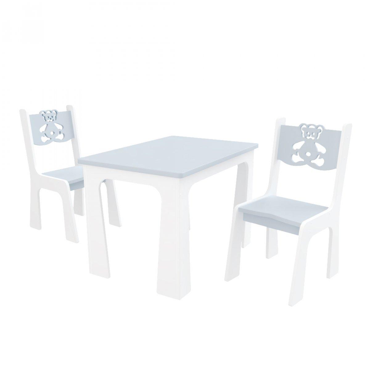 Stůl + dvě židle - méďa šedo-bílá