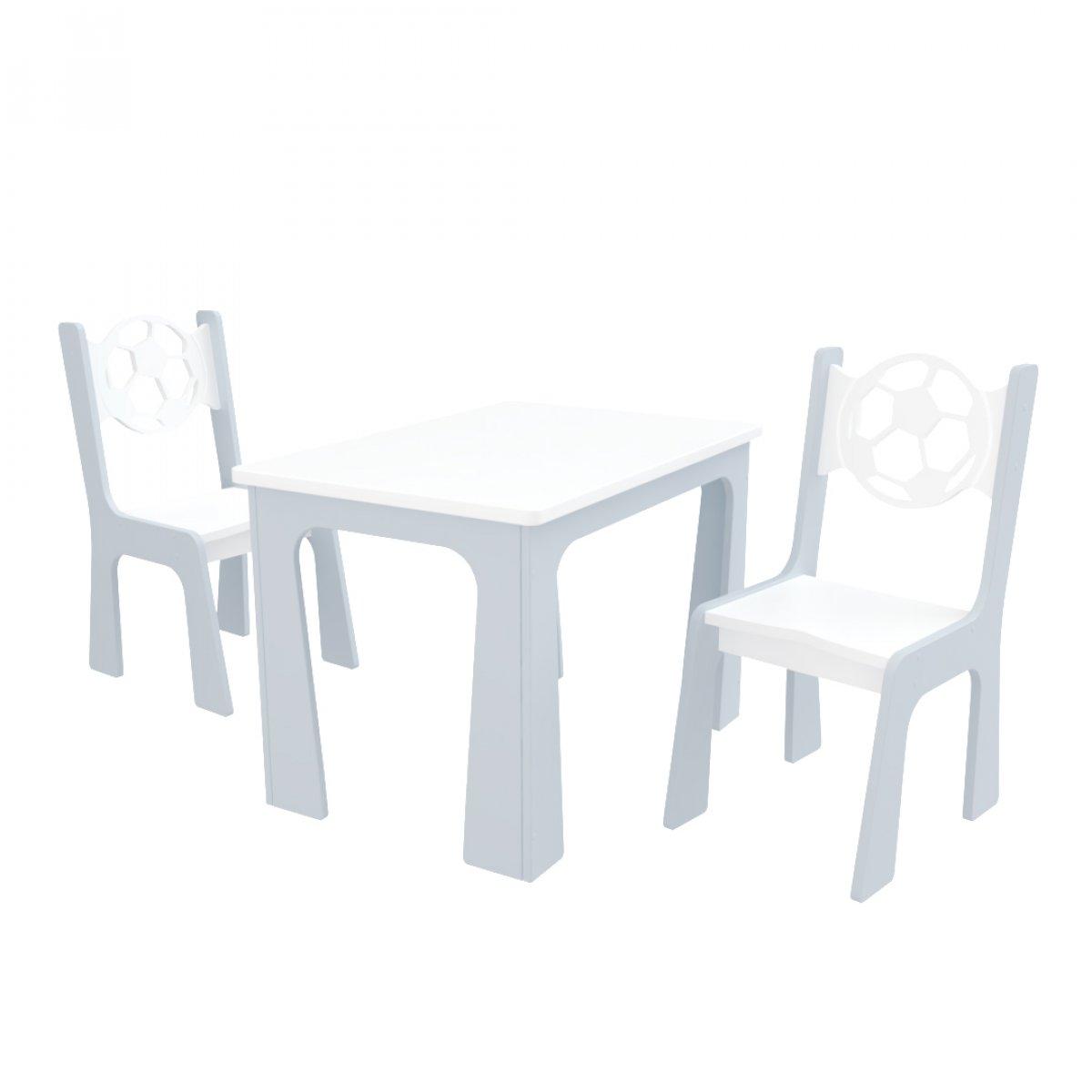 Stůl + dvě židle míč bílo-šedá