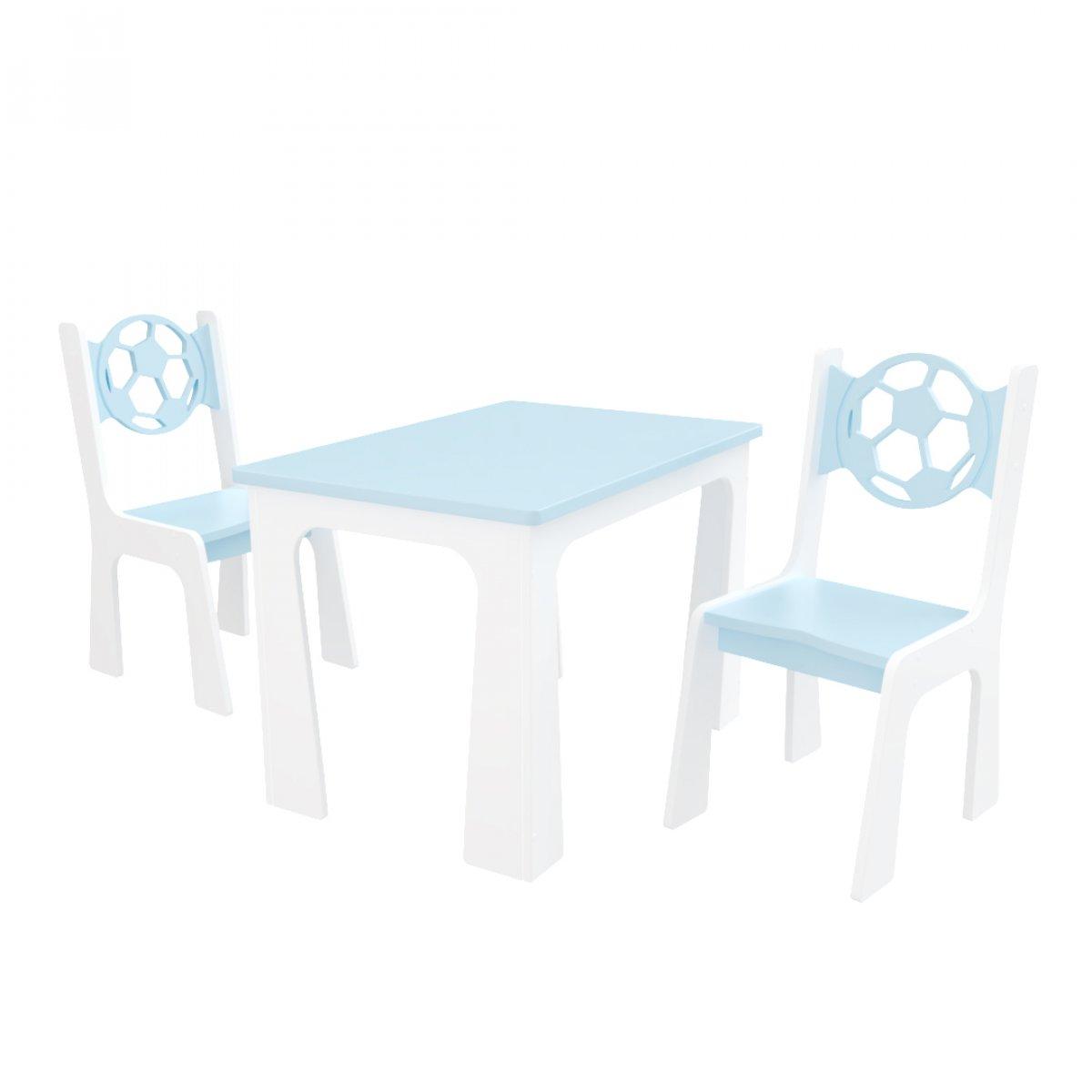Stůl + dvě židle míč modro-bílá