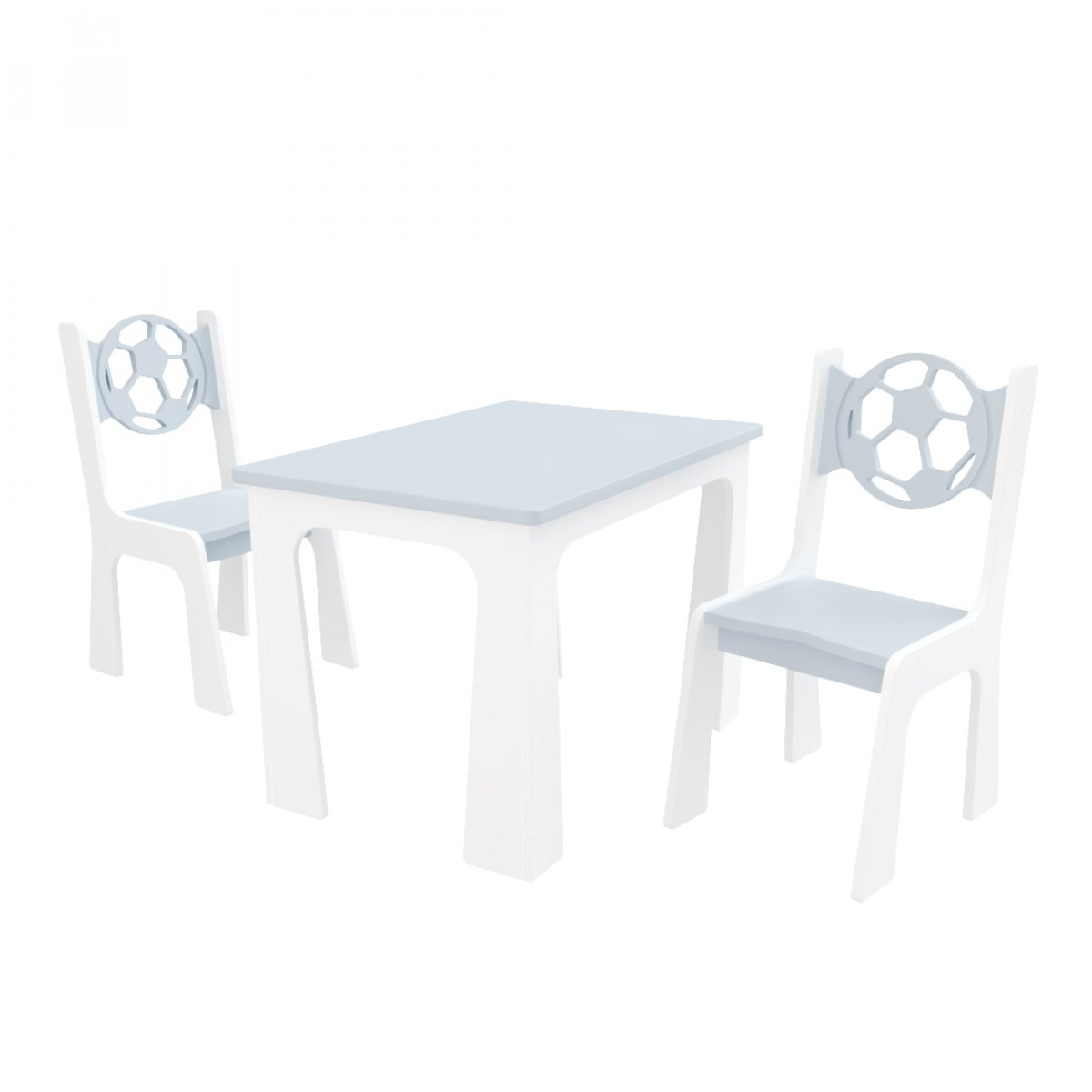 Stůl + dvě židle míč šedo-bílá