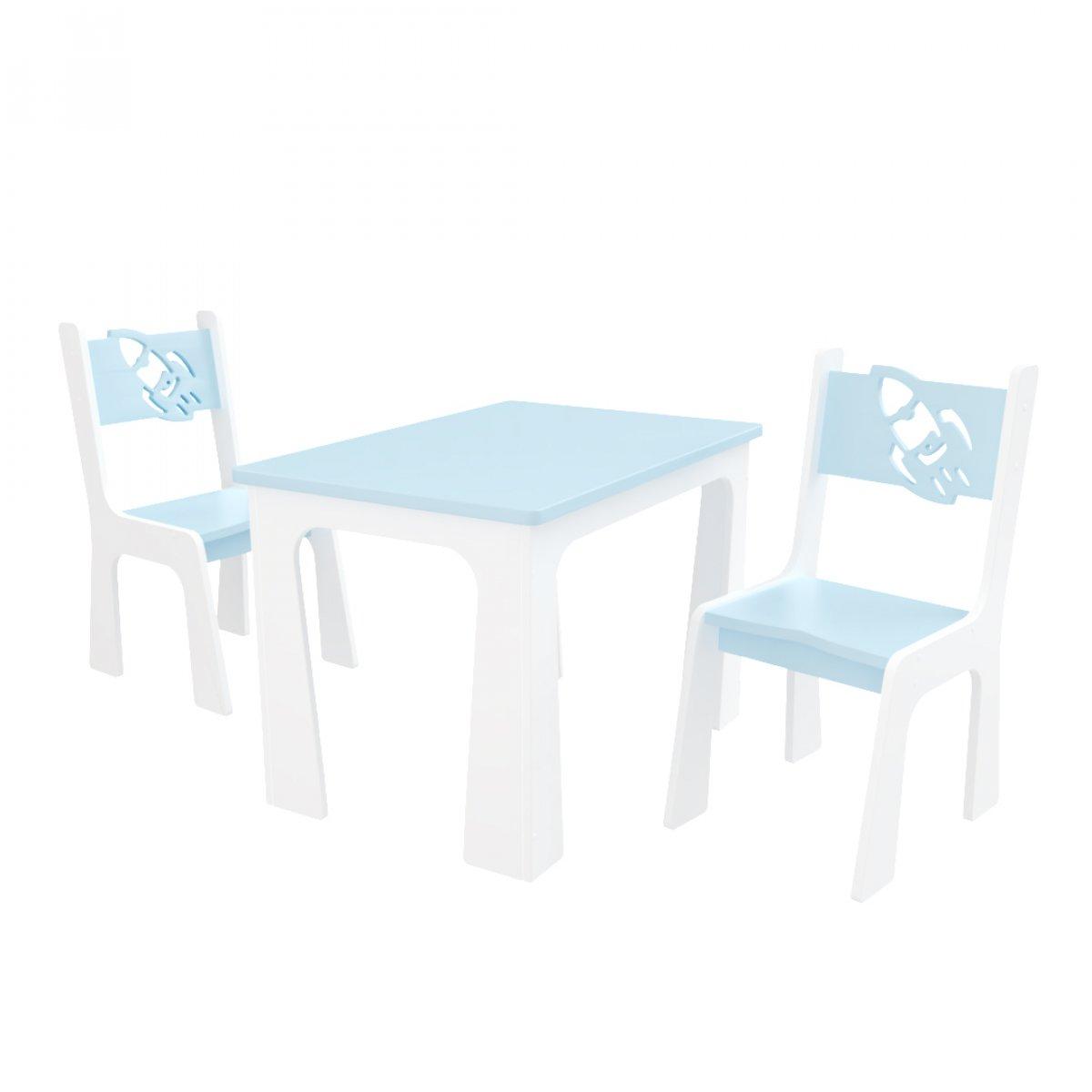 Stůl + dvě židle raketa modro-bílá