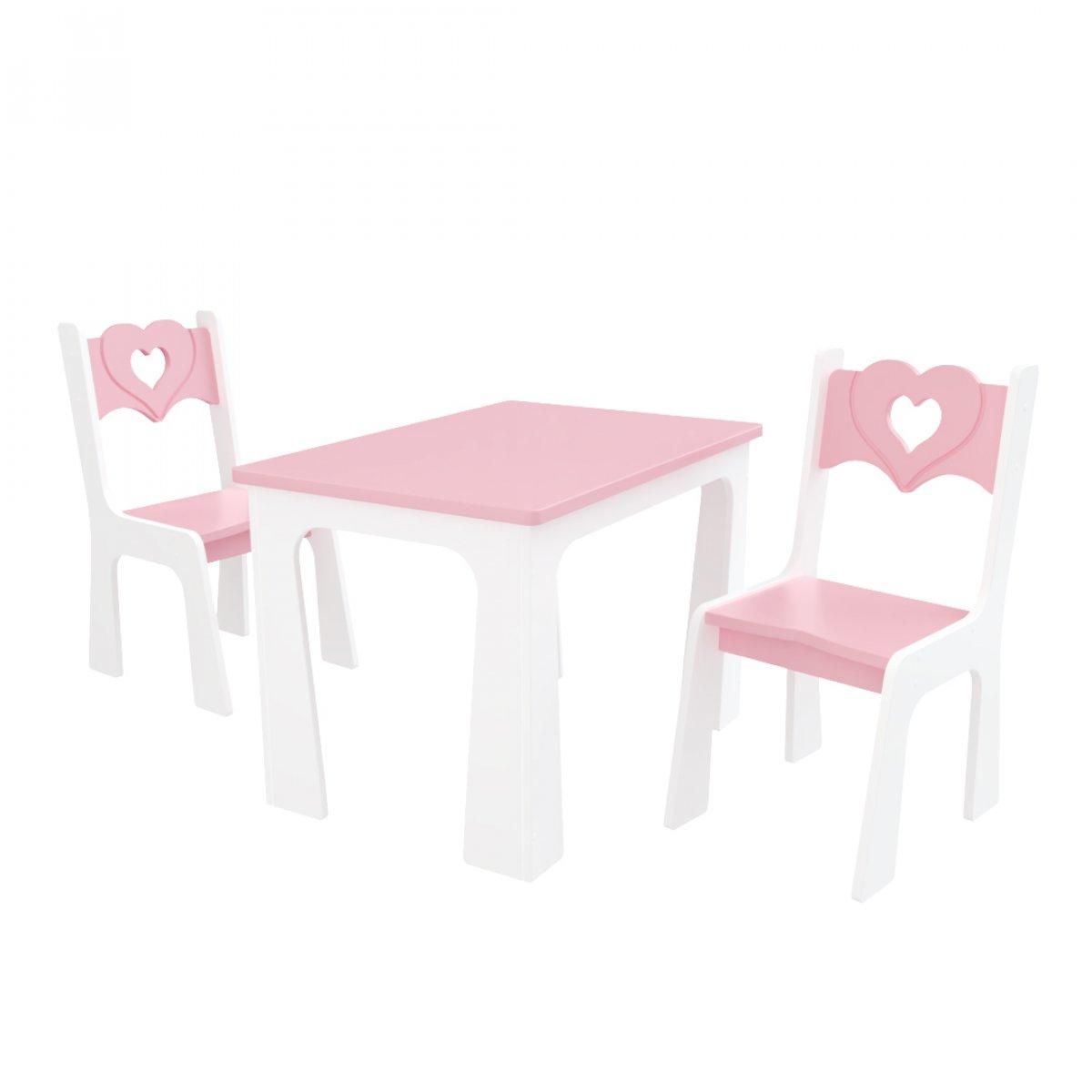 Stůl + dvě židle - srdce růžovo-bílá