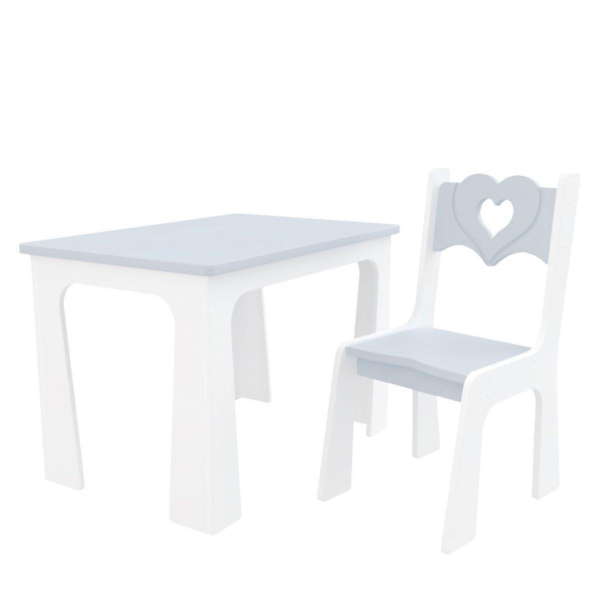 Stůl a židle opěrka srdce šedo bílá