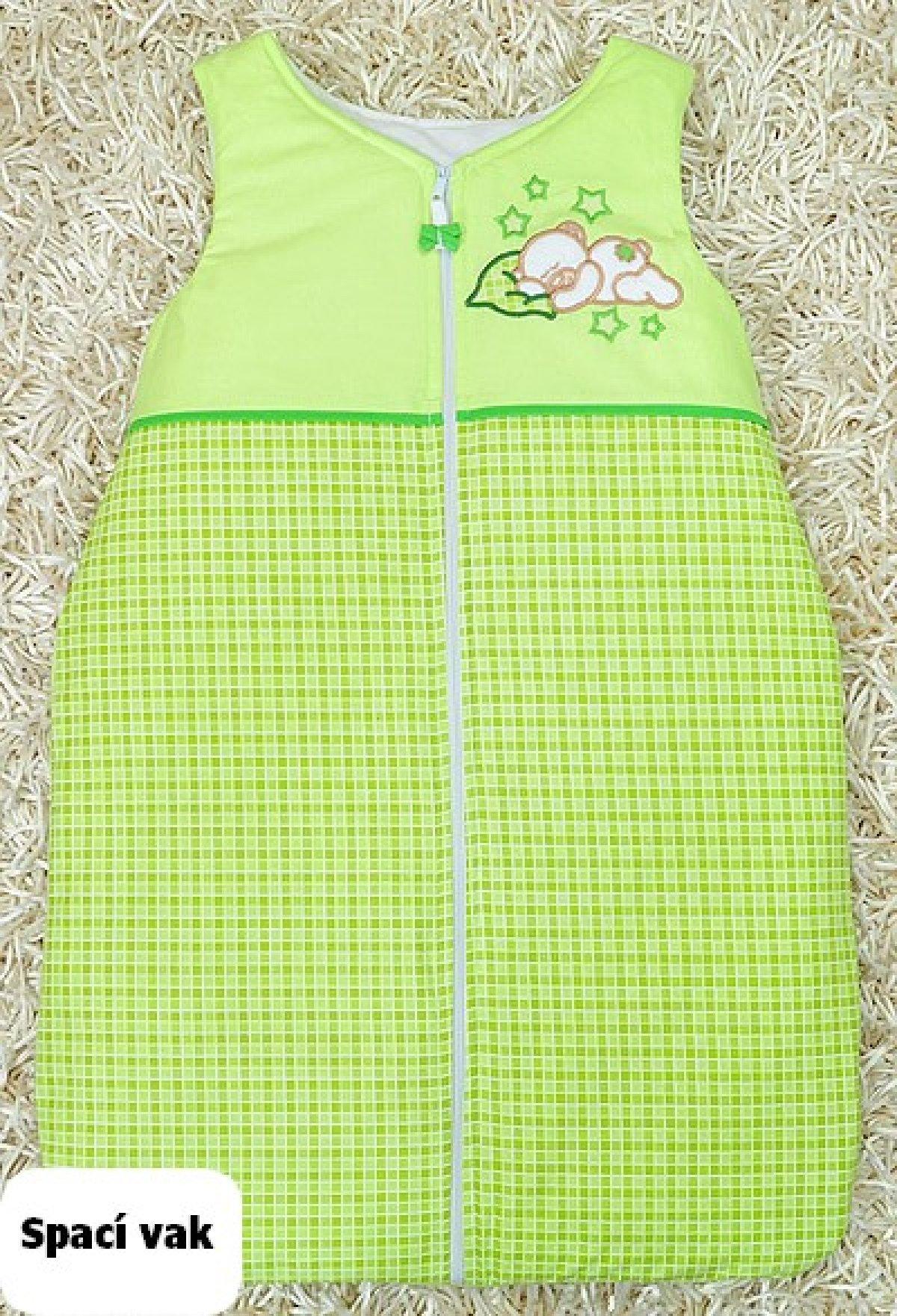 Spací vak zelený méďa s polštářkem