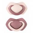 A - Canpol babies set symetrických silikonových dudlíků 0-6m PURE COLOR růžový
