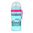 Canpol babies Sportovní láhev se silikonovou nevylévací slámkou AUTA 350 ml tmavě modrá
