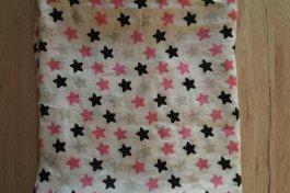 Bambusová dečková plena 120x120 cm - růžové hvězdy
