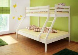 Patrová postel Denis bílá + rošty a matrace
