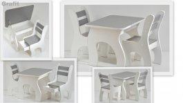 Stůl +židličky se šuplíky K3 grafit