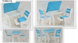Stůl +židličky se šuplíky K3 tyrkys