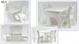 Stůl +židličky se šuplíky K3 bílá