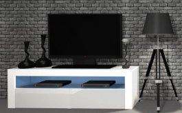 RTV stolek 2K 130 cm - bílá lesk + LED osvětlení