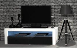 RTV stolek 2K 130 cm - černá lesk + LED osvětlení