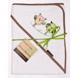 Bambusová osuška s kapucí 100x100 cm sovy bílá