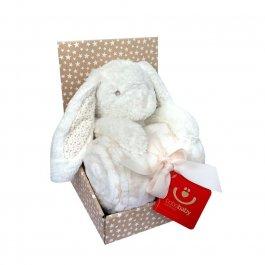 Dětská plyšová deka + hračka - králíček