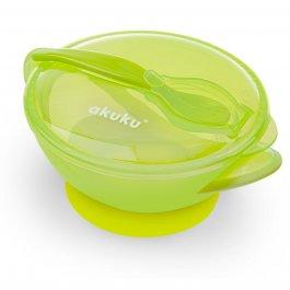 Dětská cestovní miska s přísavkou, víčkem a lžičkou - zelená