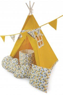 Stan teepee s oknem + 6 dárků zdarma  žlutý