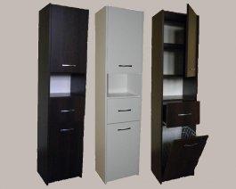 Koupelnová skříň - Aňa 2F + S + koš 40 cm - BÍLÁ