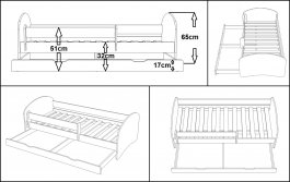 Postel Aqua N20S 180/90 cm + matrace + šuplík