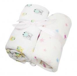 Dětská deka 2 kusy -sovy/hvězdy