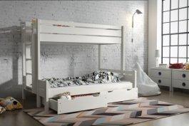 Zvětšit Patrová postel Jarek 80/200 cm + 140/200 cm + matrace + šuplíky - bílá