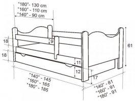 Postel Bohoušek 160/80 cm + rošt - ořech